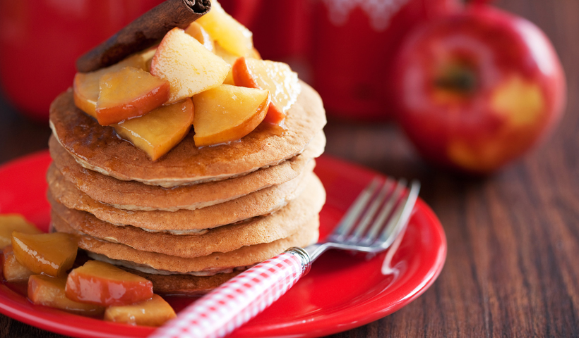 Oat Flax Pancakes with Steamed Cinnamon Apples
