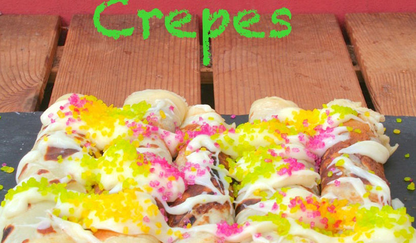 King Cake Crepes (with a hidden easter treasure inside!)